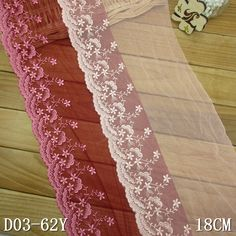 """18cm embroidery lace 7"""" inch red rigid net lace"""