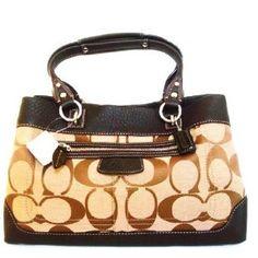 coachoutlets n8xn  Authentic Coach Penelope Signature Shopper Satshel Tote Bag 14422 Khaki  Mahogany Brown Apparel http