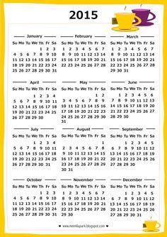 FREE printable 2015 tea time calendar