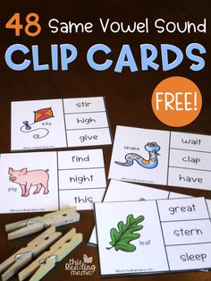 Same Vowel Sound Clip Cards - 48 free - This Reading Mama Spelling Worksheets, Spelling Activities, Reading Activities, Teaching Reading, Learning, Sound Clips, Phonics Words, Sight Word Games, Word Sorts