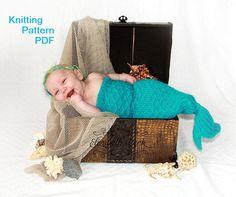 Mermaid Cocoon Knitting Pattern -- Charming Newborn Photo Prop -- PDF Number 115 -- Sent via Email -- 10,000 patterns sold. $4.00, via Etsy.