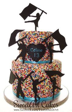 Birthday cake, color guard cake, sprinkle cake