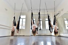 Postura de semi-inversie in timpul unui curs Air Yoga, ce intareste articulatia pumnului, antebratele, flexibilizeaza coloana vertebrala si imbunatateste circulatia la nivelul creierului. Rezerva si tu o sedinta Air Yoga pe www.danceroom.ro
