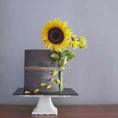 Gray cake with sunflower made with Satin Ice Cake Decorating Designs, Wilton Cake Decorating, Cake Decorating Techniques, Cake Icing, Buttercream Cake, Cupcake Cakes, Pretty Cakes, Cute Cakes, Beautiful Cakes