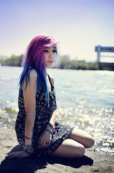 Long beautiful straight scene hair with a pink purple and blue ombre. My Hairstyle, Hairstyles Haircuts, Pretty Hairstyles, Updo, Cute Hair Colors, Bright Hair Colors, Hair Colours, Colorful Hair, Hair Chalk