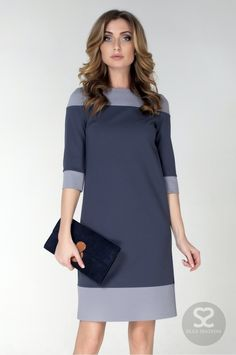 Like the color block dress. Not too long and not too short in length. Simple Dresses, Nice Dresses, Short Dresses, Dresses For Work, Elegant Office Wear, Hijab Fashion, Fashion Dresses, Hijab Stile, Stylish Work Outfits