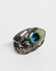 rhinestone peacock ring