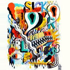 Niark1 -  **SICKBLAM** - Mixed medias on paper - 90x80 cm // #niark1 #art #painting #illustration #blam #sick #pop #ouille #aille #paper