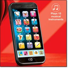 "Smartphone for Tots Just what they've always wanted— a smartphone to call their own! This 6 1/4"" L x 3"" W phone plays different musical instruments at the push of a button so kids learn music and numbers. Ages 3 and up."