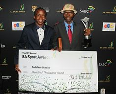 Kaizer Chiefs super fan Saddam Maake was also honoured with a Minister's Award and a cheque for Kaizer Chiefs, Sports Awards, Cheque, Soccer, Fan, Movies, Movie Posters, Futbol, Films