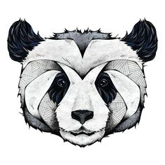 """Oh so adorable! We've turned Panda by German artist Andreas Preis into a wild animal wall sticker decal. This panda wall art features the endangered animal's head magnificently presented in highly detailed patterns, for which the artist is well-known. Shades of grey, black and white with accents of blue abound in this charming panda wall decal. Panda is available in 3 sizes: 15""""w x 13.8""""h; M-17""""w x 14.75""""h; L-36""""w x 31""""h. Perfect for walls, mirrors, doors, windows - easy installation…"""