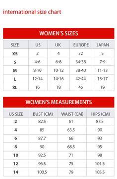 Wedding dress size conversion chart