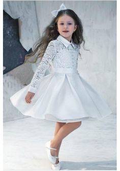 Wedding dress online shop - 2015 Vintage Cute Flower Girls' Dresses Long Sleeve Lace High Neck Satin Knee Length Girls Formal Dress