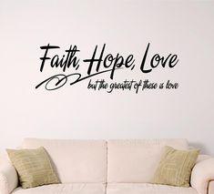 bible verse wall art Faith Hope Love by SignGuysAndGal on Etsy, $16.00