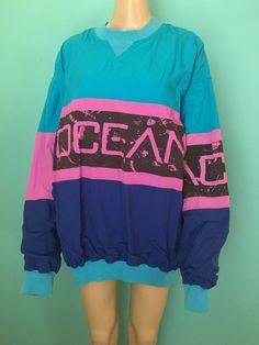 80s Vtg. Op Neon Surf Style Windbreaker / Neon by OddballlVintage