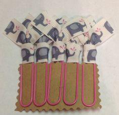 5 pk. Elephant Ribbon Paperclip Bookmarks.