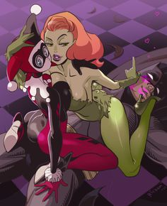 Harley Quinn and Poison Ivy Seduce Batman