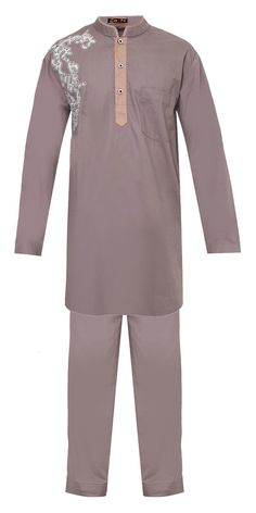 Khadafi Gamis by Zaen. Top and pants with neutral color detailing with contrast embroidery. Gives a touch of modern moslem wear for man. Made from cotton , long sleeves, hidden button, embroidery detail, front pocket, and on the pants, side pocket, self tie detail.   http://www.zocko.com/z/JEymf