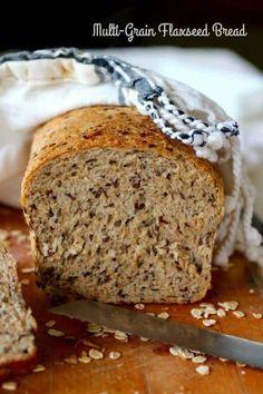 Healthy Homemade whole Wheat Bread Recipe Unique Multigrain Bread Recipe with Flaxseed Healthy Bread Recipes, Baking Recipes, Flour Recipes, Healthy Sandwich Bread Recipe, Bread Maker Recipes, Yeast Bread Recipes, Kitchen Recipes, Healthy Food, Bagels