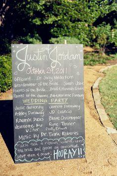 wedding program chalkboard