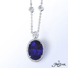 JB Star platinum tanzanite and diamond pendant.