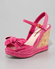 prada pink wedges | Oh, Prada pink suede wedges...how summery! You would look so nice on ...