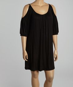 Look what I found on #zulily! Black Pleated Cutout Shift Dress - Plus by Poliana Plus #zulilyfinds