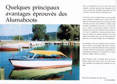 Original page of Alumaboot salesbrochure. Runabout speedboats from the sixties and seventies made entirely of aluminum. Swiss quality craft designed and built by Erich Guggisberg in the city of Arch Switserland.