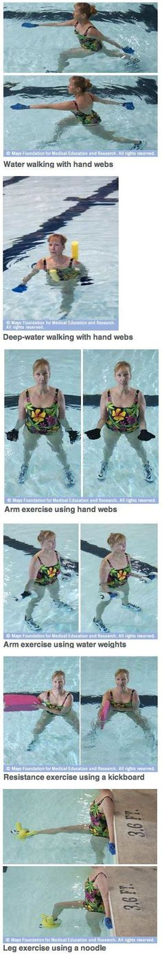 Thinking about signing up for an aquatic exercise class? Or trying water exercises on your own? Water Aerobic Exercises, Swimming Pool Exercises, Arthritis Exercises, Pool Workout, Water Workouts, Aerobics Workout, Pilates Workout, Fun Workouts, Squat
