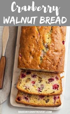Business Cookware Ought To Be Sturdy And Sensible Cranberry Walnut Bread Is One Of The Easiest Bread Recipes And It Yields Incredible Flavor. Get This Bread Ready For Breakfast During The Holidays And Your Guests Will Be Happy Quick Bread Recipes, Baking Recipes, Gourmet Recipes, Cake Recipes, Dessert Recipes, Desserts, Loaf Recipes, Fruit Bread, Dessert Bread