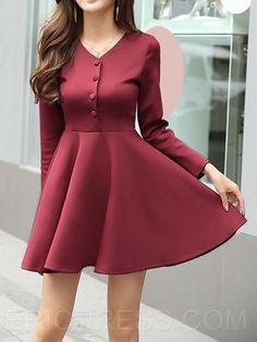 ericdress botones simples vestimenta informal expansión con cuello en V Varios vestidos