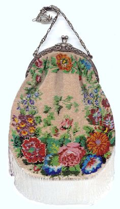 Floral Micro-Beaded Purse with Arched Figural Silver Frame