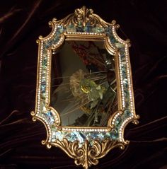Ornate Mirror with Mosaic Inlaid Abalone and by MarisueCaskey