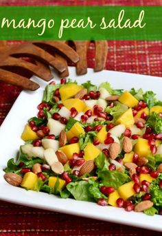 Mango pear salad recipe, perfect side dish for the Thanksgiving or Christmas holiday table | Real Food Real Deals