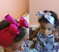 Rubans roses petite fille, headband, serre-tête, gros noeud pour cheveux, parure de coiffure, mode fille.  marque Frou-Frou