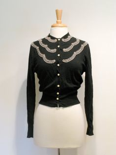 Vintage Black Beaded Cashmere Cardigan Sweater by tobedetermined