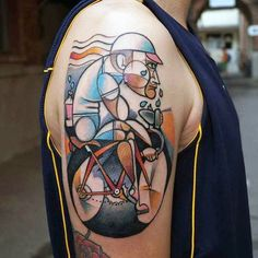 Colorful Unique Bicycle Tattoo On Arms For Men