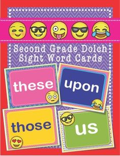 emoji dolch second 2nd grade sight words flash cards letters and numbers