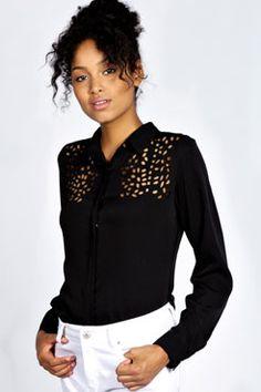 Aimee Laser Cut Button Through Shirt at boohoo.com in cream £15.00
