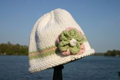 Knitted Baby Hat  White Green Pink Hand Knit Baby by UpNorthKnits, $30.00