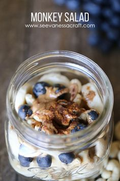 Monkey Salad – Breakfast of Banana, Blueberries, Cashews, Almond Butter, Cinnamon and Coconut Flakes. Yum!!!