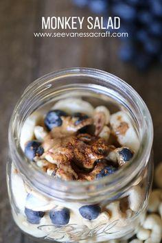 Monkey Salad – Breakfast of Banana, Blueberries, Cashews, Almond Butter, Cinnamon and Coconut Flakes. Yum!!!