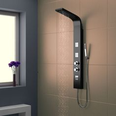 Eliseo Ricci Black Shower Tower A shower panel gives your bathroom the luxury spa look with their neat, modern shape. Often installed with body jets, hidden diverters and the most stylish, intuitive controls, these units don't just look the p