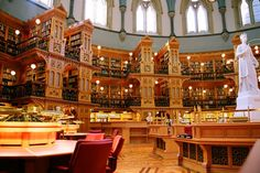 The Library of Parliament in Ottawa, Canada is a Canadian landmark, so much so that it adorns the back of the Canadian ten dollar bill. The building was inspired by the British Museum Reading Room.