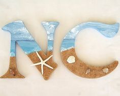 DIY Beach Signs are one of my favorite projects to work on. Its a perfect touch for my coastal theme home. DIY coastal decor projects are always great. Seashell Crafts, Beach Crafts, Diy Crafts, Beach Room, Creation Deco, Painted Letters, Craft Letters, Wooden Letters, Nautical Letters