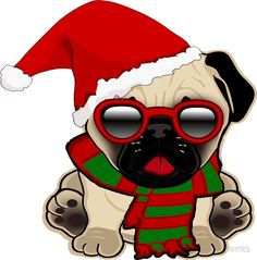 'Christmas Pug Puppy in Santa Hat' Sticker by RiffXS Pugs, Pug Puppies, Pug Dogs, Pug Christmas, Christmas Cartoons, Animals And Pets, Cute Animals, Kitten Cartoon, Pug Shirt