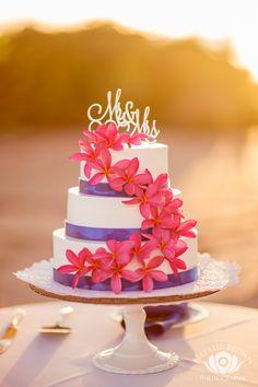 3-Tier Round Buttercream Wedding Cake with Pink Plumeria