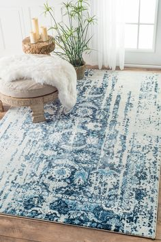 Need this nuLOOM Blue Distressed Ernestina Flourish rug