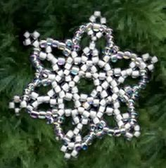 Free Bead Patterns and Ideas : Snowflake Ornament - Free Pattern