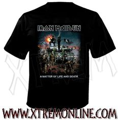 Camiseta de Iron Maiden - A Matter of Life an Death. Producto oficial.